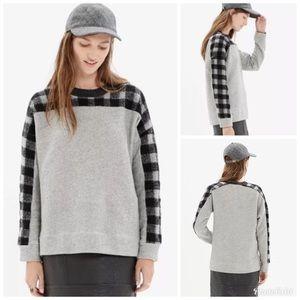 Madewell Buffalo Plaid Oversized Gray Sweatshirt